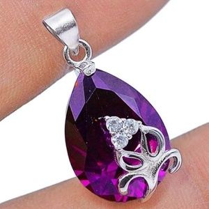 Jewelry - 4CT Amethyst & White Topaz, 925 Silver Pendant